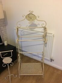 Free Standing Cream Shabby Chic Towel Rail and Toilet Roll Holder