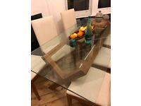 Glass top dining table 6 seater