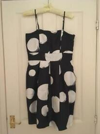 Black and White Silk Polka Dot Club Monaco Dress