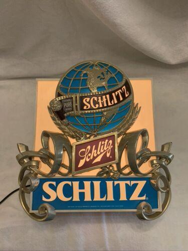 VINTAGE 1977 SCHLITZ BEER PURE TRADEMARK 3D GLOBE LIGHT UP SIGN