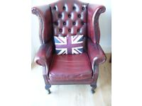 QUEEN ANNE LEATHER WINGBACK CHESTERFIELD ARMCHAIR ANTIQUE VINTAGE BARGAIN PRICE OXBLOOD