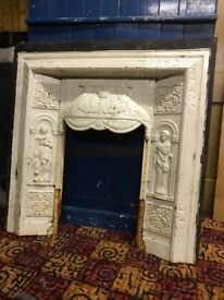 Antique Cast iron fireplace inset