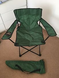 2 man pop up tent and 2 camping chairs
