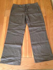 "Next Men's Khaki Linen Trousers (36""R) (never worn)"