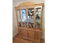 Wooden Display cabinet with glass shelving and lights