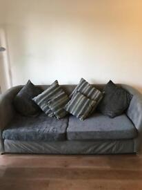 Three piece suite - 3 seater sofa, love chair & pouf