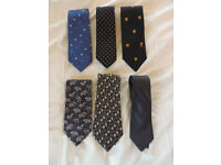 6 x Mens 100% Silk Ties