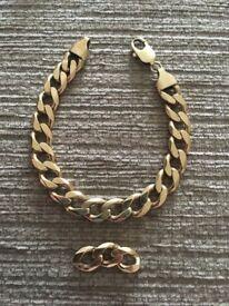 Gents 9ct gold curb bracelet