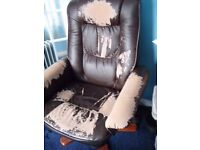 FREE to collector. Single Faux Leather reclining chair & footstool. upcycle/cover