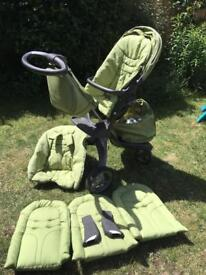 Stokke Xplory in green with lots of extras