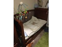 Dark brown sleigh cot bed and wardrobe