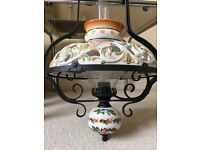 German Vintage Farmhouse Style Ceiling Oil Lamp Converted to Electricity