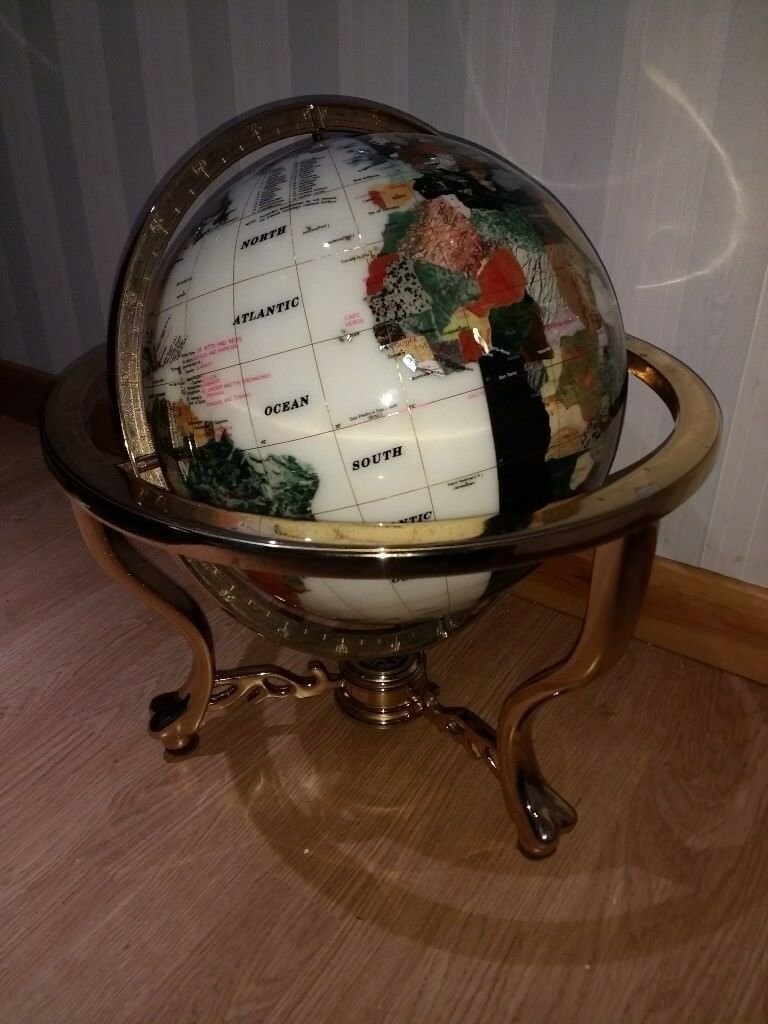 Large 21 Quot Gemstone Globe With Compass Brass Stones