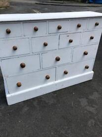 Painted pine chest drawers