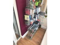 2 x glass storage units for dvds and cd's