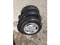 3 Wheels/tyres 155/80R13, 2 Bridgestone with good tread and Toyota wheel trims