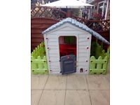 Chadvalley playhouse with picket fence, very good condition.
