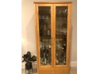 OAKWOOD and GLASS cabinet/bar for sale