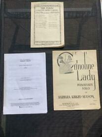 Mixed Vintage Joblot Sheet Music: Crinoline Lady; Joy; Highland Cathedral. Bundle
