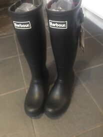 Ladies new size 6 black Barbour Wellies