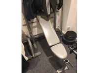 Weight bench, cast iron plates, loads of weight