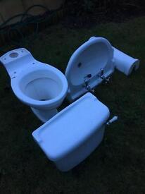 Victorian bathroom suite, toilet and basin