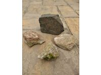 4 Small Decorative Garden Rocks for Rockery, Ponds / Water Features Garden Decoration