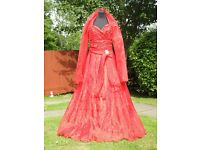 Sousourada UK 10 Handmade Red Puffy Occasion Prom Dress Beautiful With Brooch