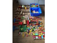 Huge bundle of wooden train,tracks and toys