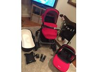 silver cross pioneer pram (chilli red/ graphite) and car seat