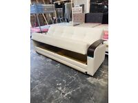 brand new factory sealed leather sofa bed 3 seater