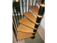 USED WINDING WOOD AND METAL STAIR CASE COLECTION NR30