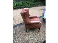 A pair of Laura Ashley leather high back chairs