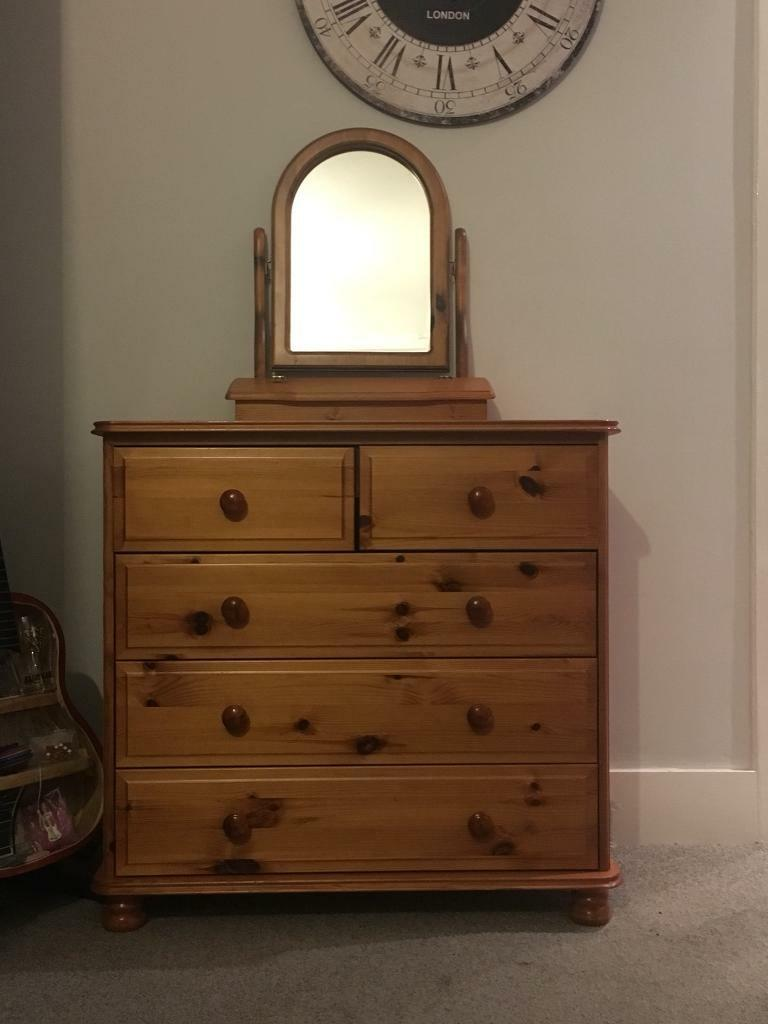 2 x pine chest of drawers and a dressing table mirror