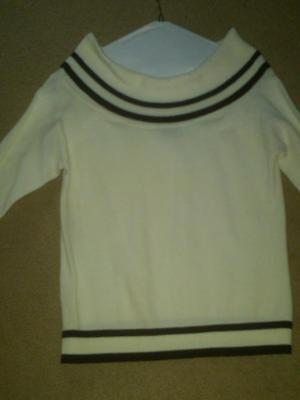 NWT LADIES WHITE TRIMMED IN BLACK 3/4 SLEEVE SWEATER AGB BYER CALIFORNIA SMALL