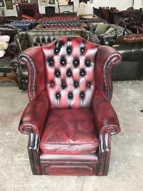 Oxblood leather chesterfield wingback highback chair UK delivery