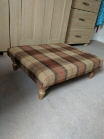 Beautiful tartan immaculate footstool newly recovered in Art of the Loom 100% wool