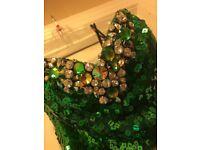 Emerald Green Sequin Prom Dress