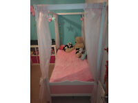 PINK PRINCESS BED with mattress and 6 Pink Curtains