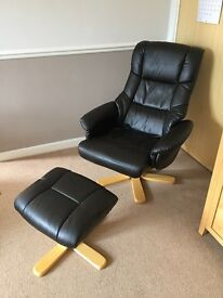 Leather effect recliner swivel chair