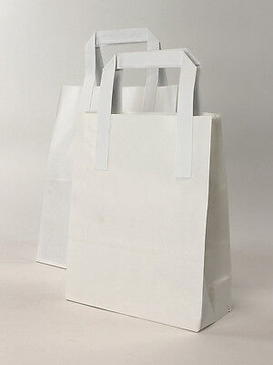 250 x Small White Paper Carrier Bags 7x10x8.5 NEXT DAY DELIVERY!