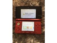 Nintendo 3ds red metallic hand held console