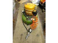 Portable Air Compressor. Silent runner. Full working order. Used for airbrush painting/pumping tyres
