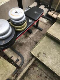 Adidas bench press, 5 ft 1 inch bar, approx 70kg in weights