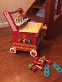 ELC wooden activity workbench and walker