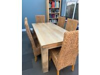 Solid Mango Wood Dining Table with 6 Natural Grass and Hardwood Dining Chairs