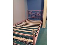Singke Pink metal bed frame with matress