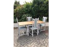 extending pub table and 4 barley twist chairs
