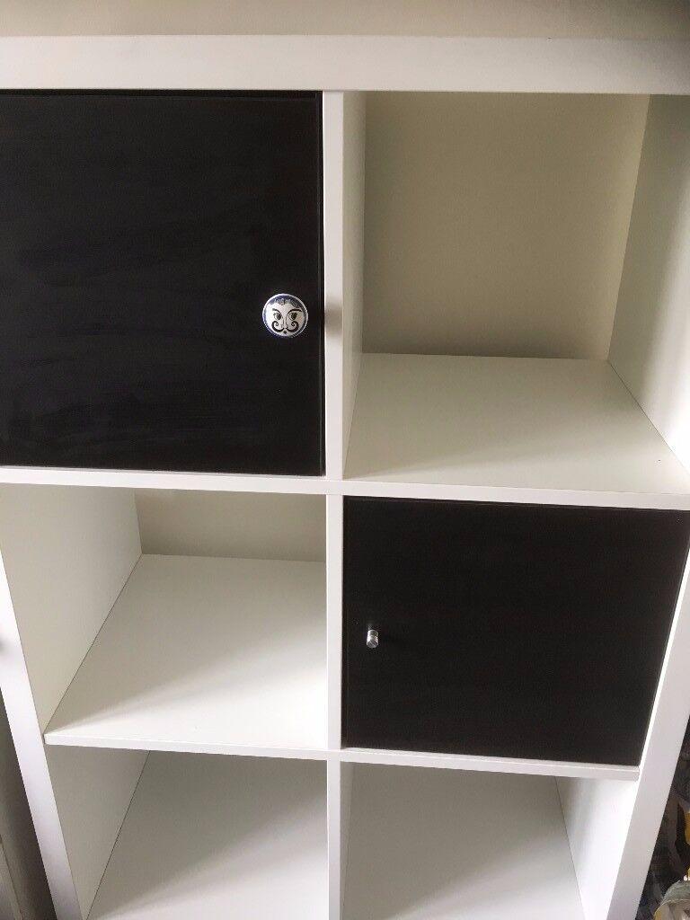 White IKEA Kallax Shelfing Unit With doors