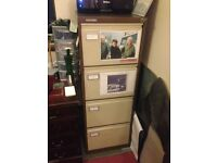 metal filing cabinet with key and loads of files